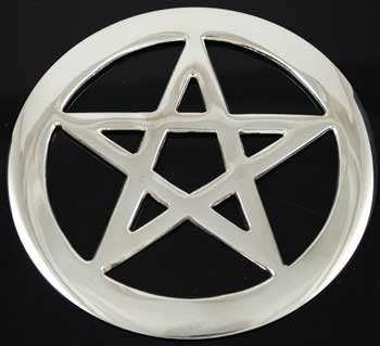 Pentacle of Earth Shinny Silver Cut Out Meditation Altar Tile Small 4