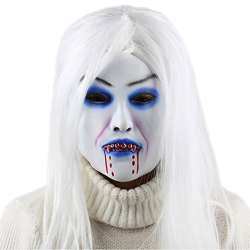 [HUPLUE Halloween Ghost Mask Toothy Zombie Bride Mask Bleeding Hair Terror Head Mask] (Zombie Bride Costume Accessories)