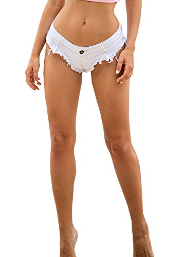Low Rise Mini Brief (Yollmart Womens Low Rise Mini Denim Shorts Denim Thong Beach Jeans Shorts-white-S)
