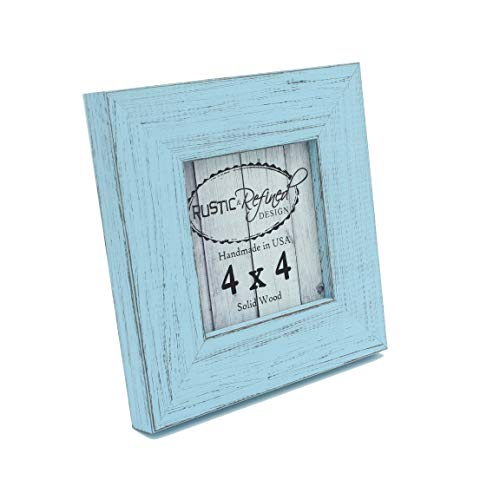 Rustic and Refined Design Country Colors Picture Frame - Solid Wood - Hand Made in USA (Sky Blue, 4x4)