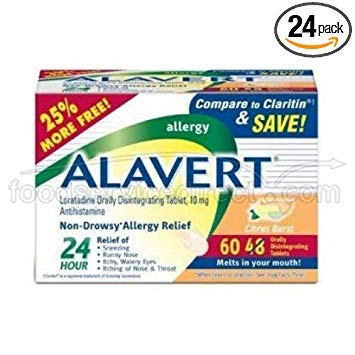 Alavert Citrus Burst Loratadine Allergy Orally Disintegrating Tablet, 10 Milligram - 3 box per pack - 8 packs per - Tablets Orally Alavert Disintegrating