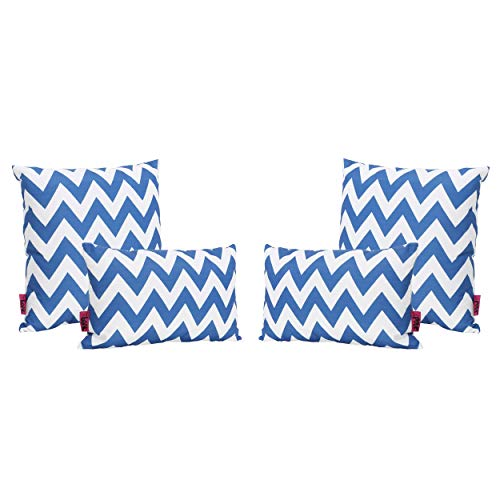 Christopher Knight Home Jerry Outdoor Blue and White Chevron Water Resistant Square and Rectangular Throw Pillows Set of 4
