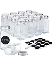 DEFWAY Glass Spice Jars with Labels - 18 Pcs 4oz Empty Glass Jar Square Glass Seasoning Jars with Aluminum Lids, Shaker Tops, Rewritable Labels, Liquid Chalk and Silicone Collapsible Funnel