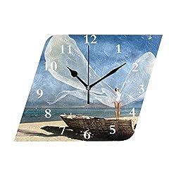 HangWang Wall Clock Angel Wings Silent Non Ticking Decorative Diamond Digital Clocks Indoor Outdoor Kitchen Bedroom Living Room
