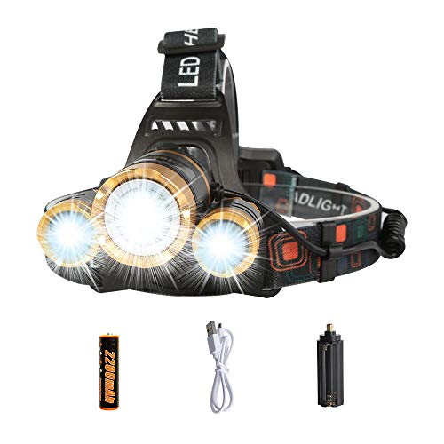 (LED Headlamp Flashlight,COSOOS Rechargeable Headlamp with Red Safety Light, 2400 Lumen Xtreme Bright, Zoomable 4-Mode Waterproof Head Lamp for Adults, Hunting,Hardhat, Father Day Gift,Battery Included)