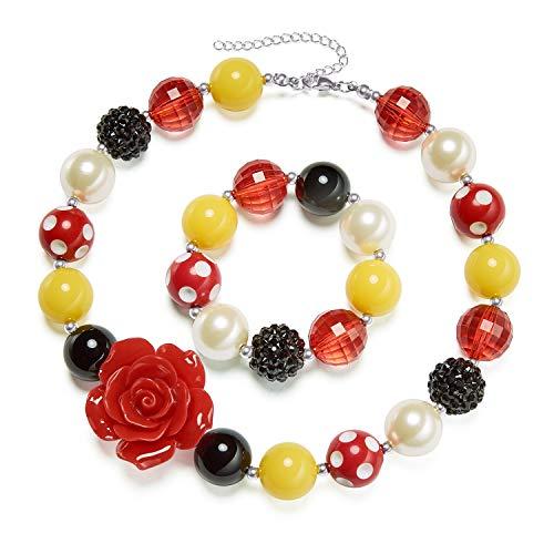 vcmart Girls Chunky Necklace and Bracelet Set Bubblegum Gumball Beads Girls' Birthdays Gift Flower Pendant -