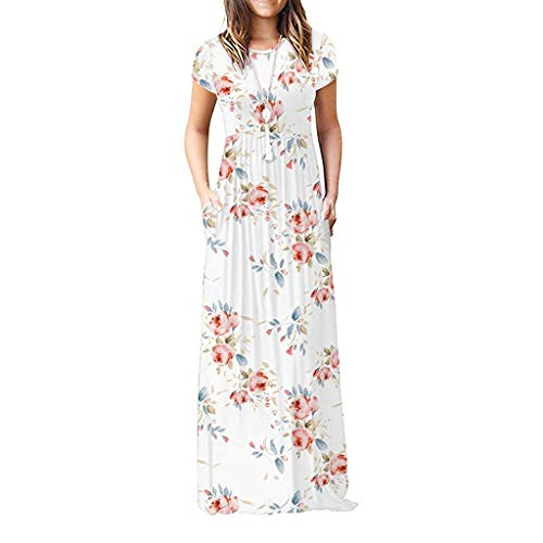 Maxi Dress for Women, Kiasebu Womens O Neck Loose Stripe Floral Print Long Maxi Casual Dresses Pockets