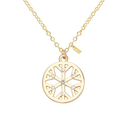 MANZHEN Winter Crystal Snowflake Pendant Necklace Holiday Festival Christmas Snowflake Necklace (Gold)