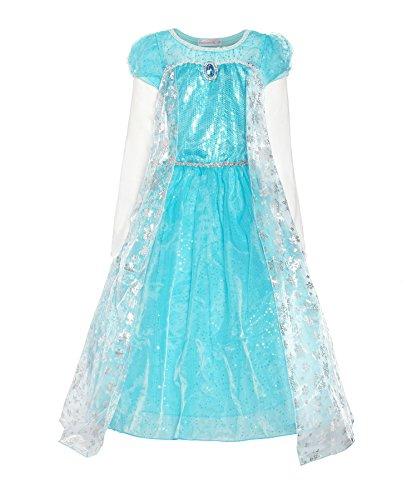 ReliBeauty Girls Long Sleeve Snowflake Elsa Cosplay Costume, 8