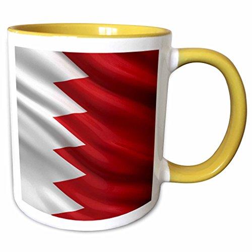 3dRose Carsten Reisinger - Illustrations - Flag of Bahrain waving in the wind - 15oz Two-Tone Yellow Mug - Mug Bahrain