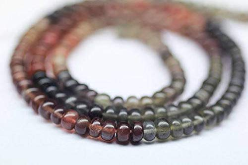 "KALISA GEMS Beads Gemstone Rare Fire Scapolite Cats Eye Multi Smooth Loose Rondelle Gemstone Craft Beads Strand 14"" 4mm"