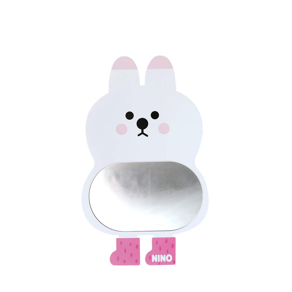 Antique Alive White Bunny Safe EVA Unbreakable Acrylic Kids Boy Girl Baby Children Room Bathroom Kindergarten Wall Home Decor Cute Rabbit Mirror Board