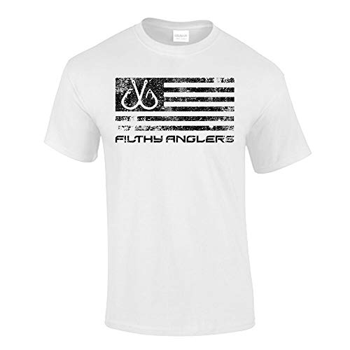 Filthy Anglers Fishing Shirt American Flag Design (3X-Large, White)