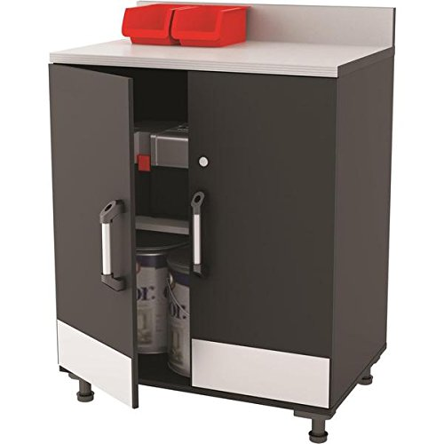 (Altra SystemBuild Boss Steel Grey 2 Door Base Cabinet, Euro hinges allow for your cabinet doors to open wide)