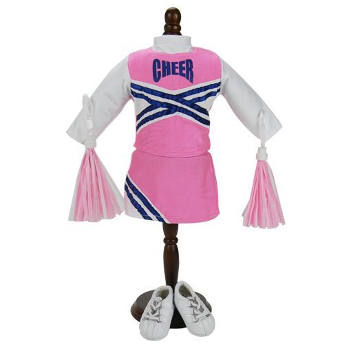 4 Pc. Pink 18 Inch Doll Cheerleader Set of Cheer Top, Skirt, Sneaker Shoes, Pom Poms Fits 18 Inch American Girl Dolls & More! Doll Clothes Cheerleader Outfit & Doll Sneakers