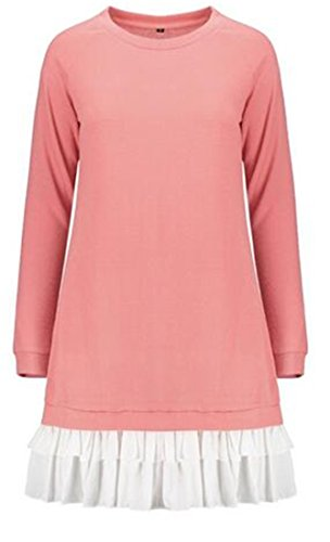 Mesh Crewneck Pink Loose Sleeve Splice Shirt Womens Dress Long T Tunic Cruiize Fit qUgHtx
