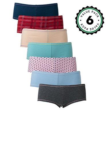 Emprella Women's Knickers Boyshort Panties Multipack Comfort Ultra-Soft Cotton Underwear (6-Pack) Assorted Medium