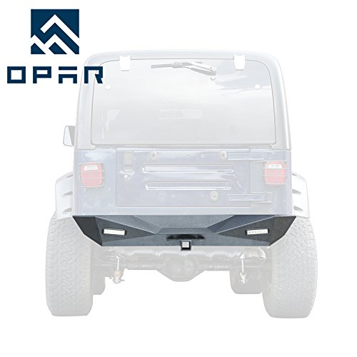 Opar BLADE Rear Bumper w/ Hitch Receiver & 2 x LED Lights for 1987-2006 Jeep Wrangler YJ TJ & Unlimited