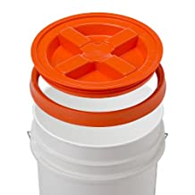 5 Gallon White Bucket & Gamma Seal Lid - Food Grade Plastic Pail & Gamma2 Screw Seal Tight Lid (Orange) by Gamma2