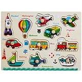Dream's Tail 子供 ペグパズル 図形 型はめ 頭の体操 知育玩具 右脳訓練 幼児教育 数字 計算 英会話 木のおもちゃ 全22種 (乗り物英語)