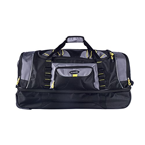 """TPRC 30"""" Black with Yellow Trims """"Sierra Madre"""" 2-Section Drop-Bottom Rolling Duffel"""