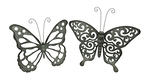 Zeckos Galvanized Finish Open Work Butterfly Set of 2 Metal Wall ()