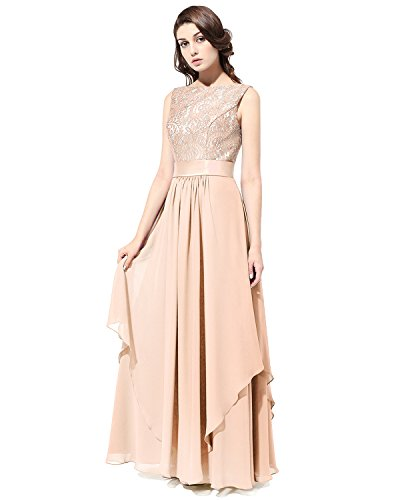 Bridesmay Long Chiffon Bridesmaid Dress V-back Evening Gown Prom Party Dress Champagne Size 8