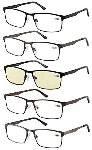 Eyecedar 5-Pack Reading Glasses Men Metal Frame Rectangle Style Stainless Steel Material Spring Hinges Includes Computer Readers -