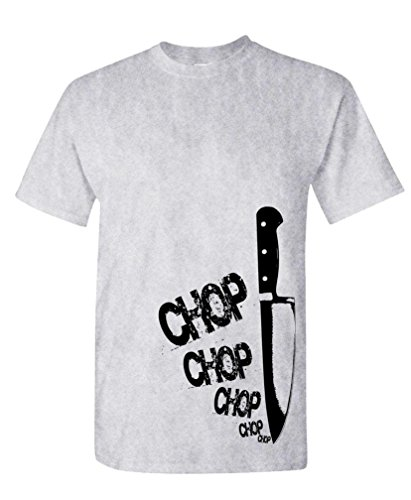 CHEFS KNIFE chop chop - cook gourmet foodie - Mens Cotton T-Shirt, S, Ash