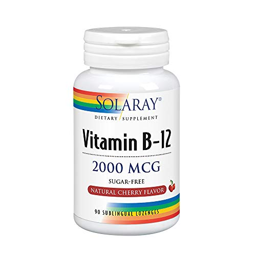 - Solaray Vitamin B-12, 2000 MCG, Cherry Flavor, 90 Sublingual Lozenges