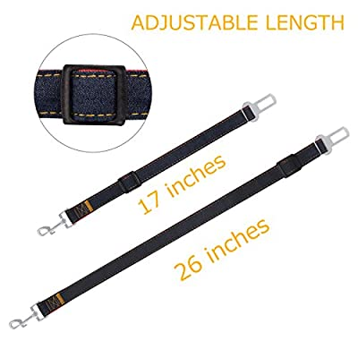 COMSUN 2-Pack Adjustable Dog Seat Belt, Dog Seatbelt for Car, Dog Harness Safety Leads, Cat Vehicle Traveling, 17-26 Inch Length