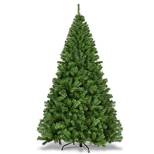 Goplus 7.5ft Artificial Christmas Tree, Unlit Premium Hinged Spruce Xmas Tree with Solid Metal Stand, for Outdoor and Indoor Decor (7.5 feet)