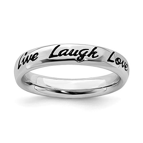 - FB Jewels Solid Sterling Silver Stackable Expressions Enamel Live Laugh Love Ring Size 6