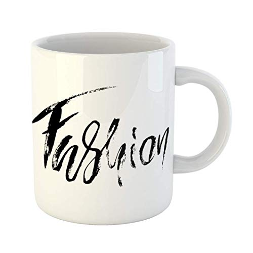 Fabri.YWL 11 OZ Coffee Mug Abstract Lettering Modern Dry Brush Inscription Beautiful Blogger Blot Circular White Ceramic Glossy Tea Cup,Motivational Mug,Fun Mugs,Funny Gift