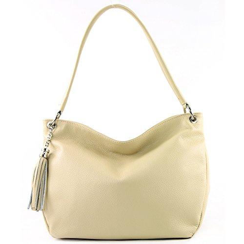 Bag Cremebeige Shoulder Leather T154 modamoda de Leather Genuine Shoulder Case ital Bag wzzXZPTqUn