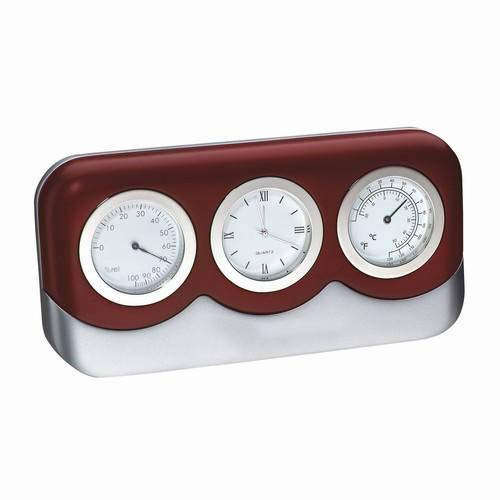 Gifts Engraved Personalized Free Cherry Wood Finish Desk Weather Thermometer Hygrometer Clock