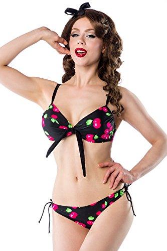 Belsira Vintage Pin-Up Bikini mit Kirschen A50020 Schwarz (Sw 16) rUtGUHMKIS
