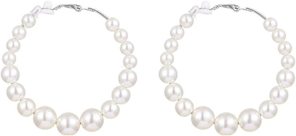 Elegantes perlas blancas pendientes redondos del aro no perforado en clip del oído de la joyería de las mujeres de gran tamaño de perla exagera Círculo de la Moda