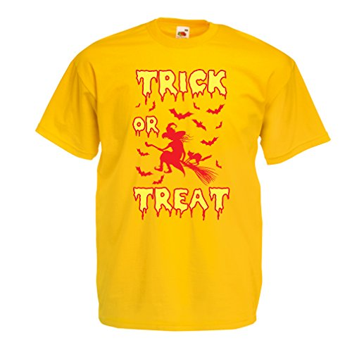 lepni.me T Shirts for Men Trick or Treat - Halloween Witch - Party outfites - Scary Costume (XX-Large Yellow Multi -