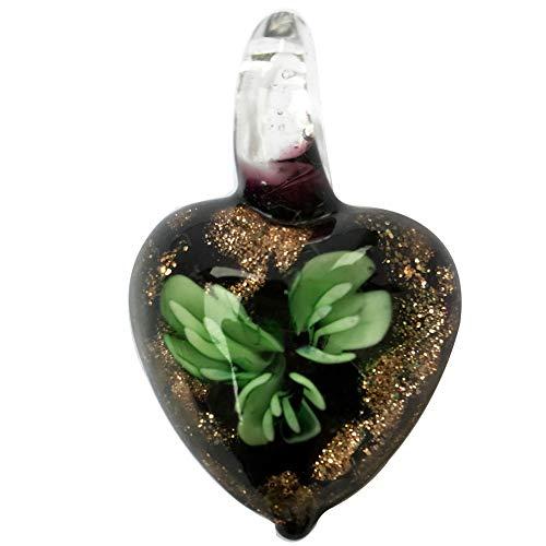 Jewelry58718 Fashion Lampwork Glass Flower Heart Pendant Bead (Green C7405)