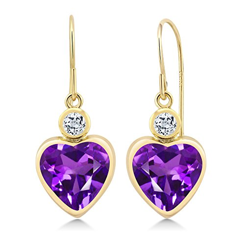 Gem Stone King 3.48 Ct Heart Shape Purple Amethyst White Topaz 14K Yellow Gold ()