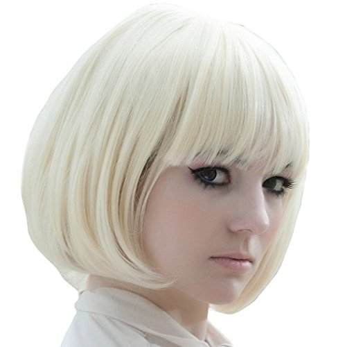 X&Y ANGEL New Popular Kanekalon Short Straight BOB Sexy Stylish Heat Resistant Synthetic Hair Wig Creamy White Blonde K004 -