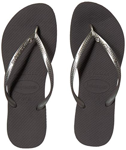 Shoes With Swarovski Crystals - Havaianas Slim Crystal Glamour, New Graphite/Silver Metallic, ((9-10 M US Women's / 8 M US Men's)