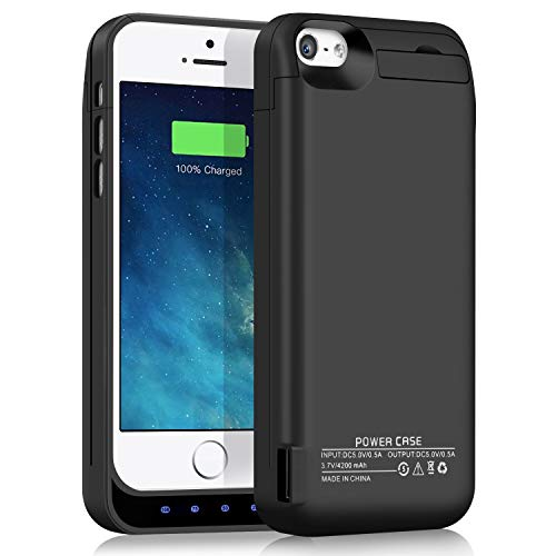 YISHDA Battery Case Compatible for iPhone 5 5S 5C SE, 4200mAh Portable External Backup Extended Battery Charger Case Pack with USB Power Bank Protective Charging Case - Black [18 Month Warranty] (Best Backup Battery For Iphone 5)