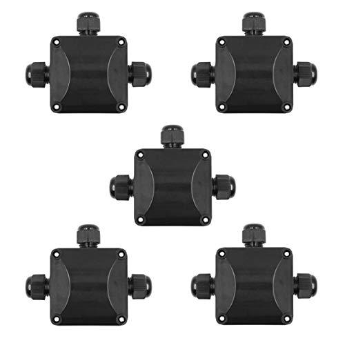 5 conectores de cable de plástico IP68 impermeables, 3 cables, caja de derivación, color negro: Amazon.es: Bricolaje y herramientas