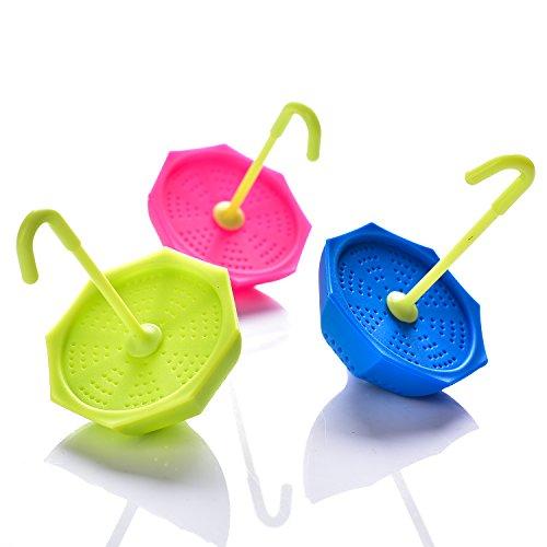 Tea Bag Infuser-Senbowe™ 3 Pack Colorful Genuine Premium Silicone Umbrella Reusable Tea Ball Infuser Strainer Steeper Set for Loose Leaves & Herbal Teas-Great Gift for Tea Lovers by senbowe (Image #4)
