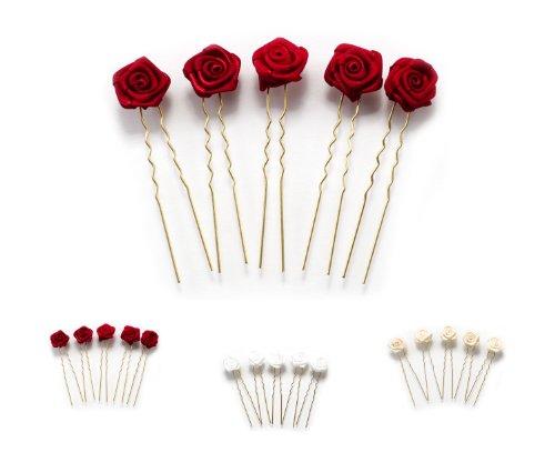 5 horquillas con rosas - accesorios para el cabello - para cabello plano - oro - Rojo Burdeos