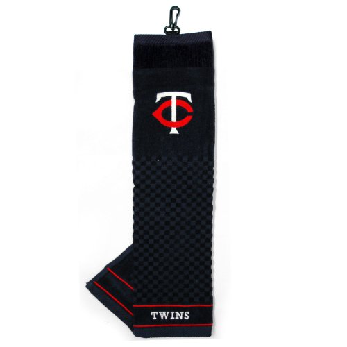 Team Golf MLB Minnesota Twins Embroidered Golf Towel, Checkered Scrubber Design, Embroidered Logo