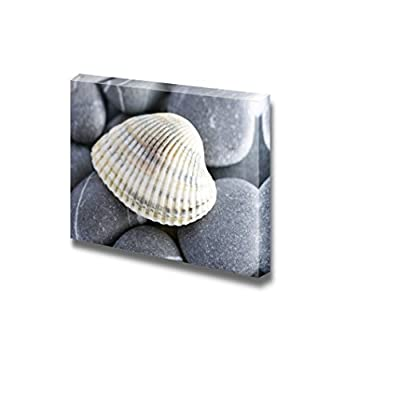 Canvas Prints Wall Art - Natural Spa Elements- Seashell with Starshell and Stones on White - 32