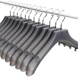 MR. SIGA Plastic Extra Wide Suit Hangers, Pack of 12, Width: 15.5'' 39.5cm, Notched Shoulders & Swivel Hooks, Translucent Grey